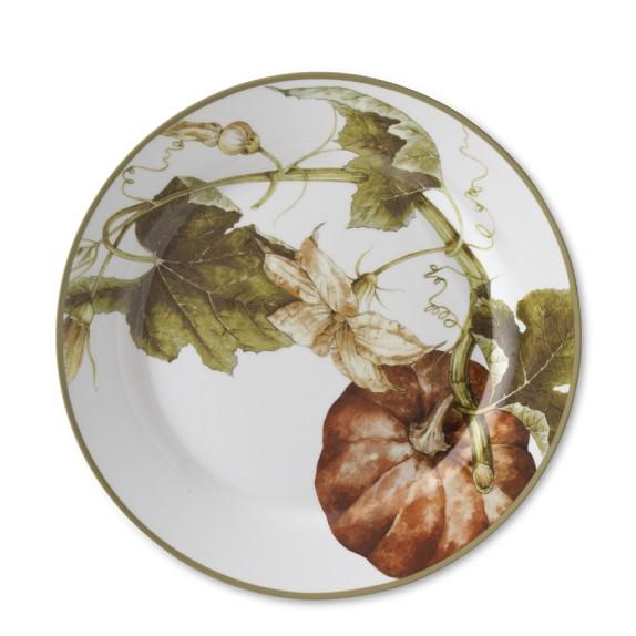 Botanical Pumpkin Dinner Plates, Set of 4