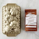 Nordic Ware Fall Loaf Pan & Williams Sonoma Pumpkin Chocolate Chunk Quick Bread Mix Set