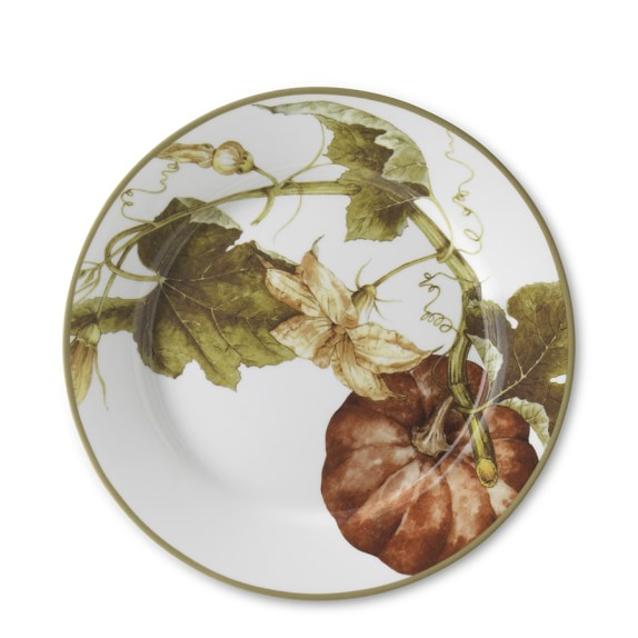 Botanical Pumpkin Salad Plates, Set of 4