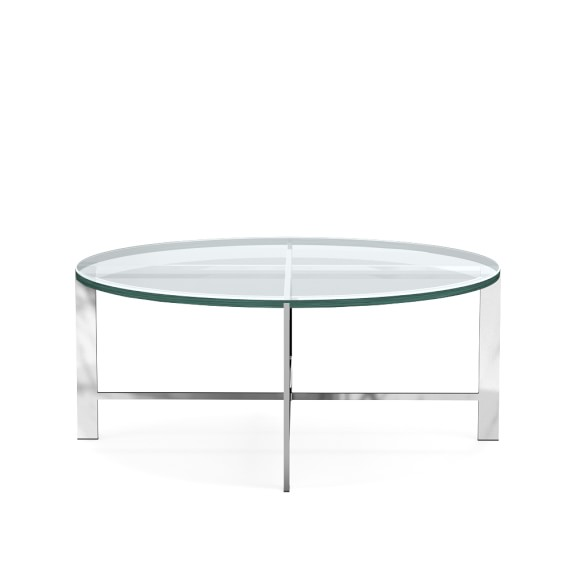 Mercer Coffee Table, Round, Glass, Polished Nickel