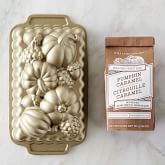 Nordic Ware Fall Loaf Pan & Williams Sonoma Pumpkin Caramel Quick Bread Mix Set