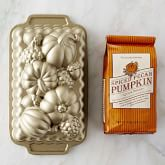 Nordic Ware Fall Loaf Pan & Williams Sonoma Pumpkin Pecan Quick Bread Mix Set