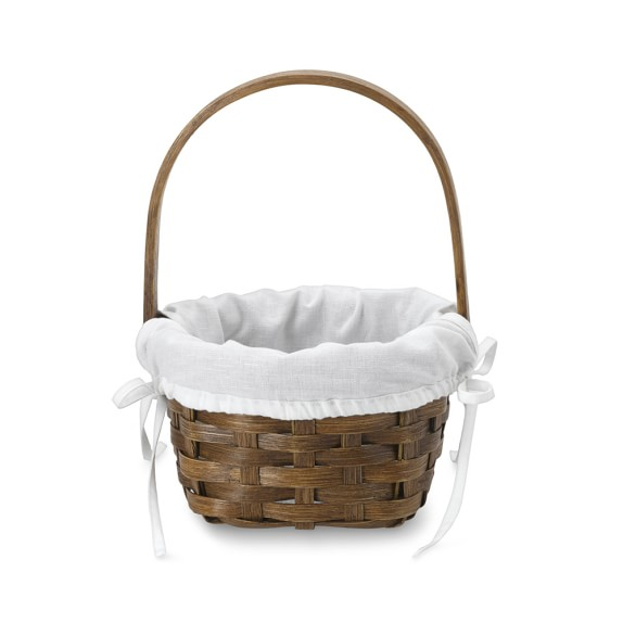 Walnut Rattan Easter Basket with Liner, Small