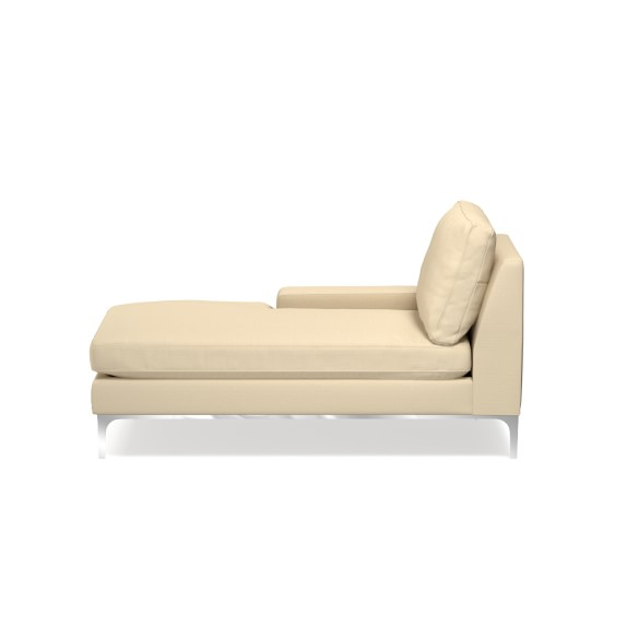 Lucca One Arm Chaise with Down Blend Cushion, Left, Raffia, Solid, Off White