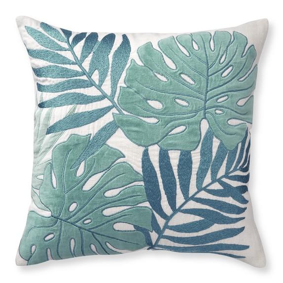 Palm Leaf Velvet Applique Pillow Cover, 20