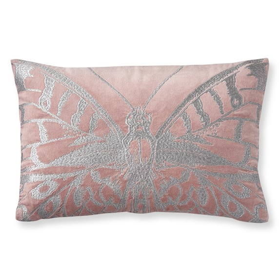 Metallic Embroidered Butterfly Pillow Cover, 14