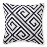 Greek Key Embroidered Linen Pillow Cover, 20