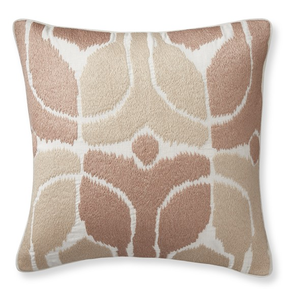 Embroidered Ikat Pillow Cover, 20