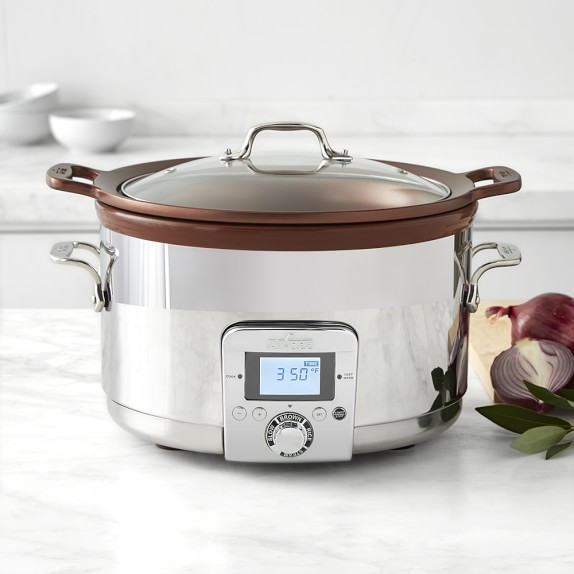 The all-in-one slow cooker's 7-quart cast-aluminum insert with a dark copper finish provides an even-heating, nonstick cooking surface that works great for browning right in the cooker — or use the insert directly on the stovetop for traditional-style cooking.