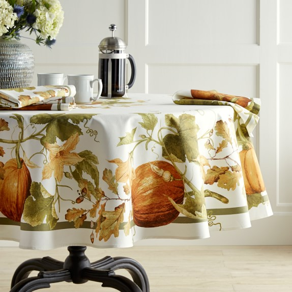 Botanical Pumpkin Tablecloth, 70