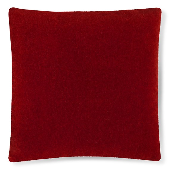Mohair Pillow Cover with Contrast Edge, Red