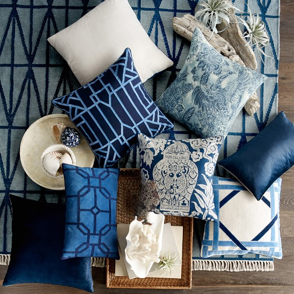 Ginger Jar Embroidered Pillow Cover, Blue Williams Sonoma