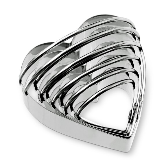 Stainless-Steel Heart Biscuit 5-Piece Cookie Cutter Set