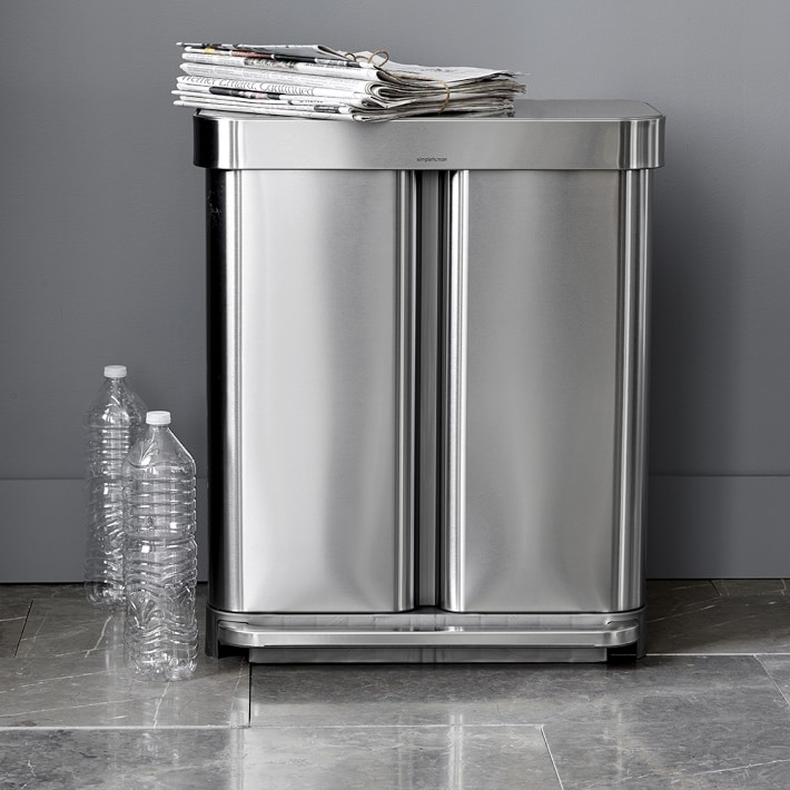 simplehuman  Liner Pocket Dual Recycling and Trash Can  58L   Williams  Sonoma. simplehuman  Liner Pocket Dual Recycling and Trash Can  58L