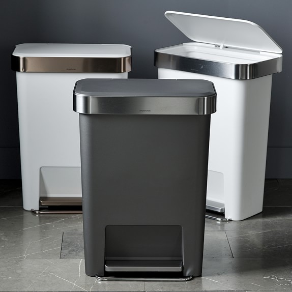 Roll Over Image to Zoom. simplehuman  Plastic Liner Pocket Trash Can   Williams Sonoma