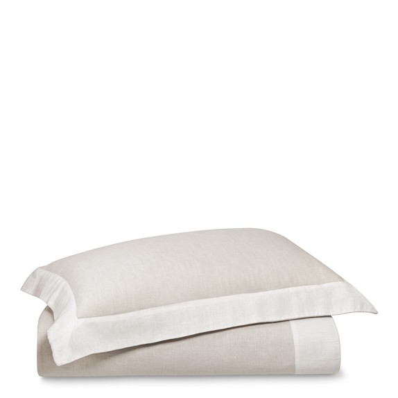 Chambers Flax Washed Linen Border Duvet, Full/Queen, Cream