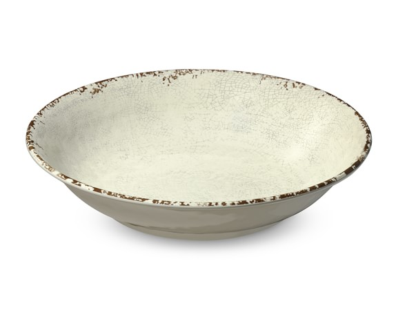 Rustic Melamine Serving Bowl, Ivory