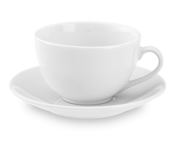 Apilco Très Grande Cups & Saucers, White, Set of 4