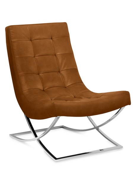James Nickel Leather Chair, Tuscan Leather, Bourbon, Quick Ship