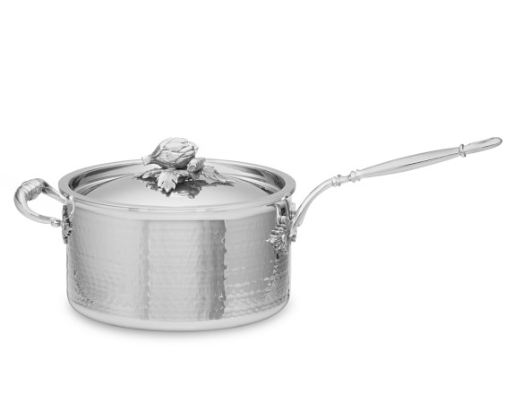 Ruffoni Opus Prima Hammered Stainless-Steel Saucepan