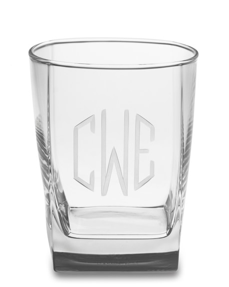 Monogrammed Square Double Old-Fashioned Glasses, Triple-Initial, Set of 4