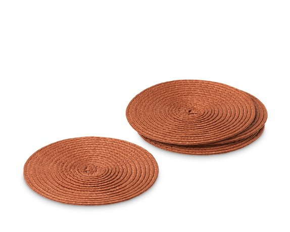 Round Woven Coasters, Set of 4, Pumpkin