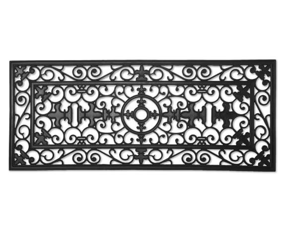 """Fleur-de-lys Rubber Doormat, Double Door, 57"""" x 24"""""""