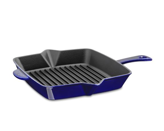 """Staub Cast-Iron Grill Pan, 10"""", Sapphire Blue"""