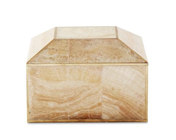 Brass Bordered Stone Box, Small, Sand