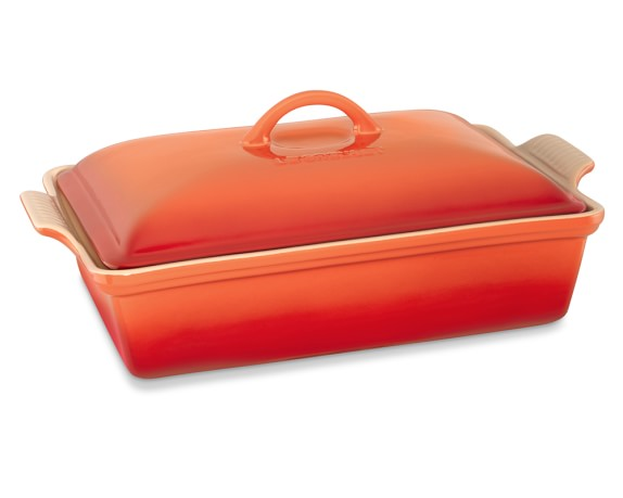 Le Creuset Heritage Stoneware Rectangular Covered Casserole, Flame