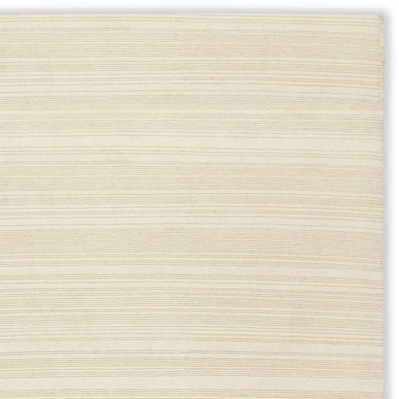 Hand-Knotted Textured Stripe Rug Swatch, Ivory