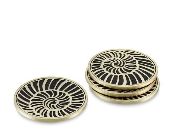 L'Objet Ammonite Coasters, Set of 4, Gold