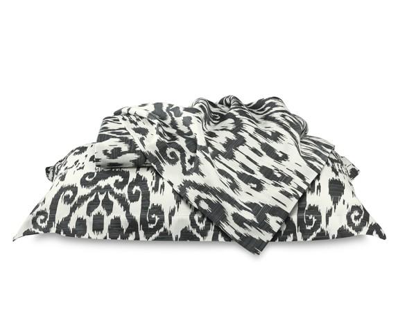 Printed Ikat Sateen Bedding Duvet Cover, Full/Queen, Black