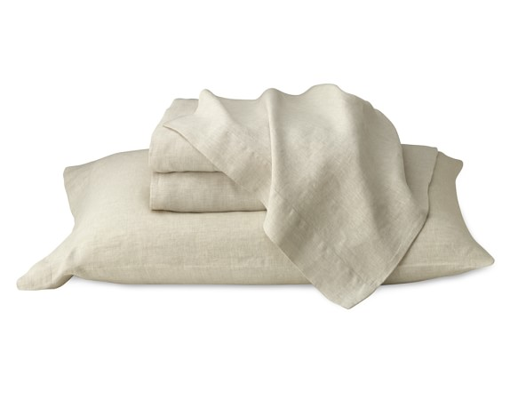 Chambers Flax Washed-Linen Border Bedding, Sheet Set, Queen, Flax