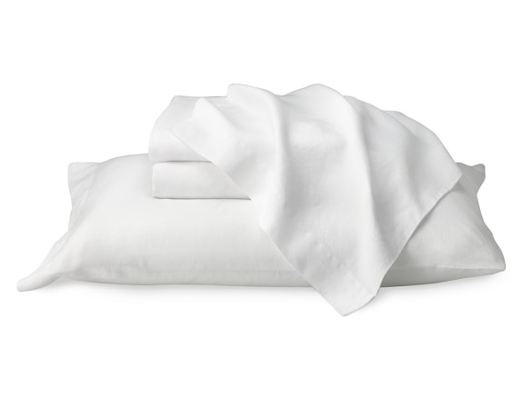 Chambers Washed-Linen Border Bedding, Solid Case Pair, Standard, White