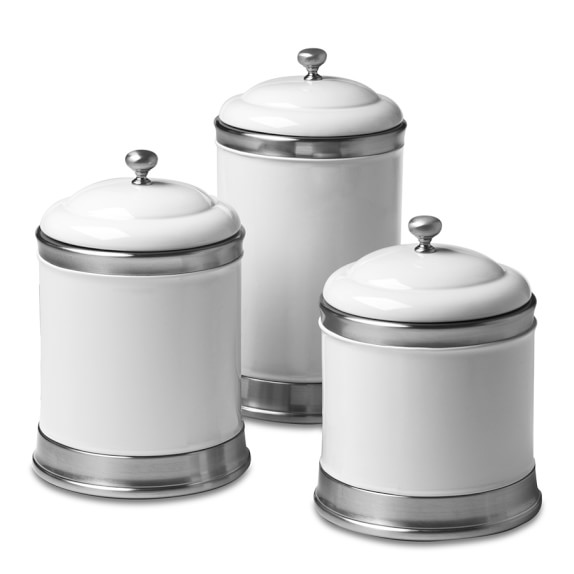Williams Ceramic Canisters, Set of 3, White
