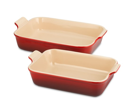 Le Creuset Heritage Stoneware Rectangular Bakers, Set of 2, Red
