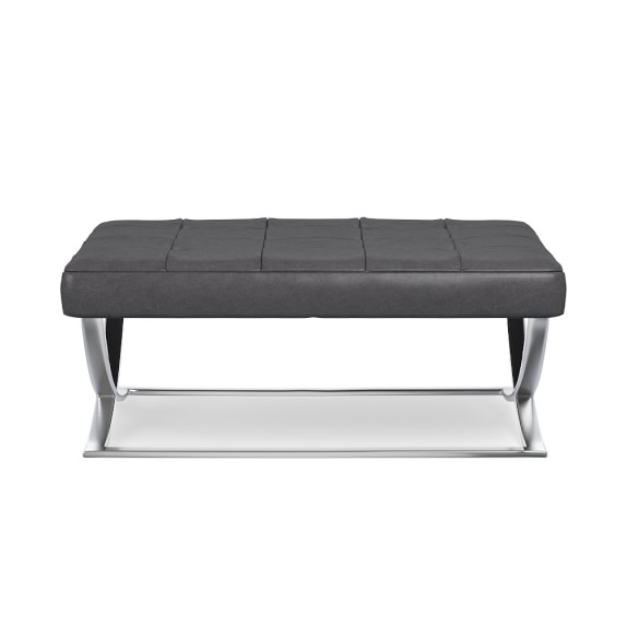 James Large Ottoman, Italian Distressed Leather, Wolf