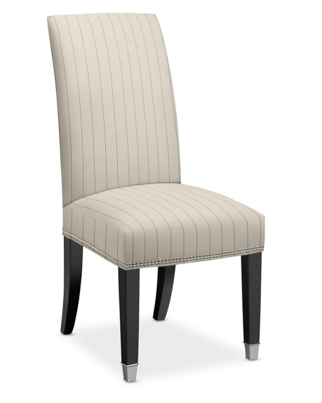 Amelia Dining Side Chair, Cotton/Polyester, French Stripe, Admiral, Polished Nickel
