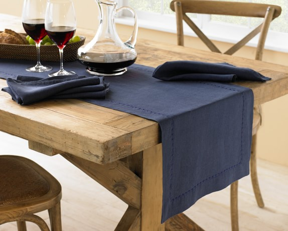 Italian Washed Linen Table Runner, Navy