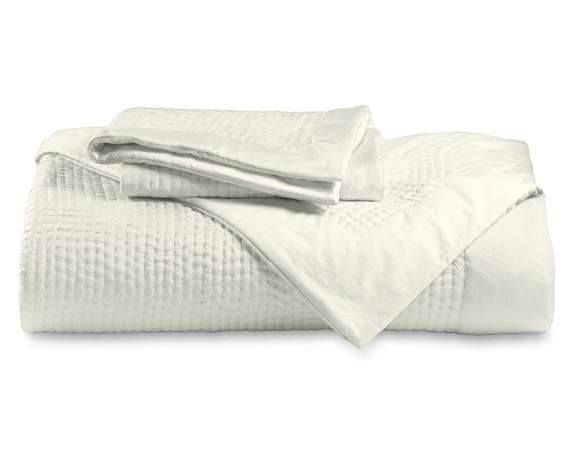 Silk Pickstitch Bedding, Quilt, Full/Queen, Ivory