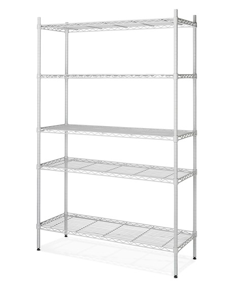 Wire 5-Shelf Wide Unit, White