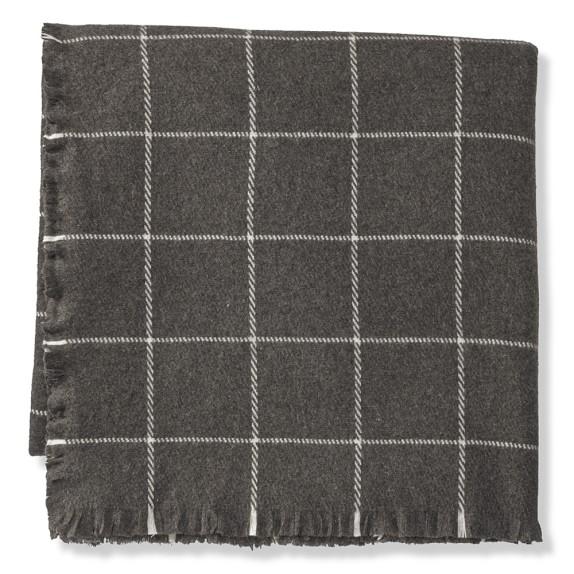Windowpane Blanket, King, Grey
