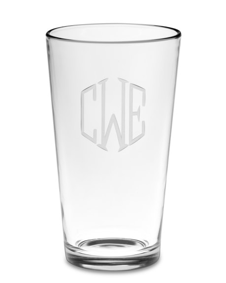 Monogrammed Pint Glasses, Triple-Initial, Set of 4