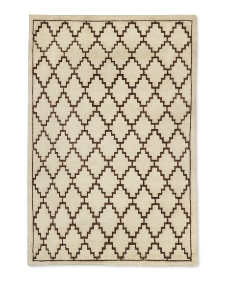 Graphic Diamond Rug, 6x9', Ivory/Brown