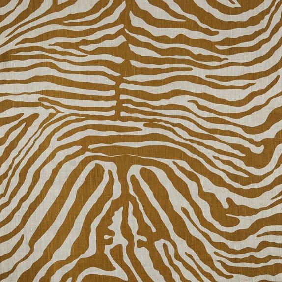 Fabric By The Yard, 1 Yard, Linen Zebra Print, Bronze