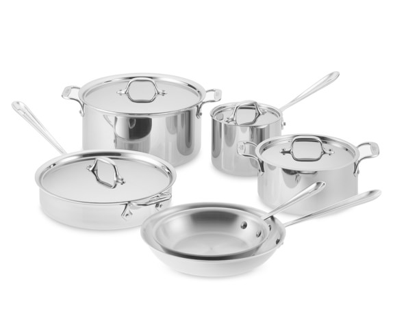 All-Clad Tri-Ply Stainless-Steel 10-Piece Cookware Set