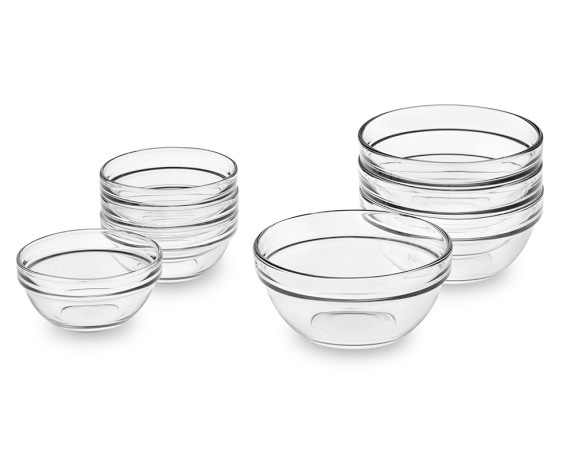 Glass Prep Mixing Bowls, Set of 8