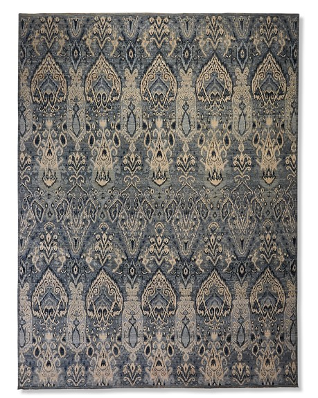 Hand-Knotted Wool & Silk Ikat Rug, 6x9', Blue