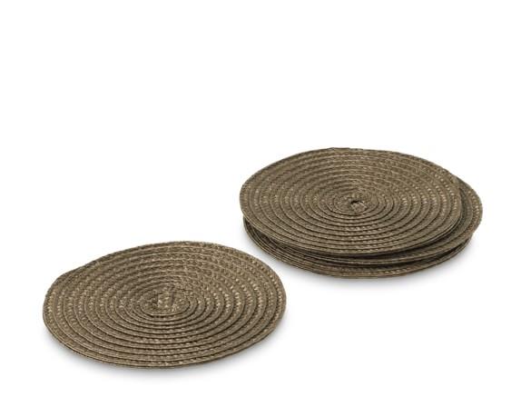 Round Woven Coasters, Set of 4, Shitake